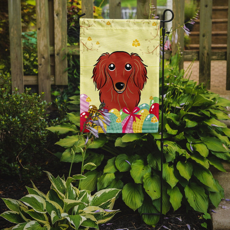 Buy this Longhair Red Dachshund Easter Egg Hunt Flag Garden Size BB1896GF