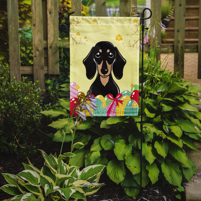 Buy this Smooth Black and Tan Dachshund Easter Egg Hunt Flag Garden Size BB1897GF
