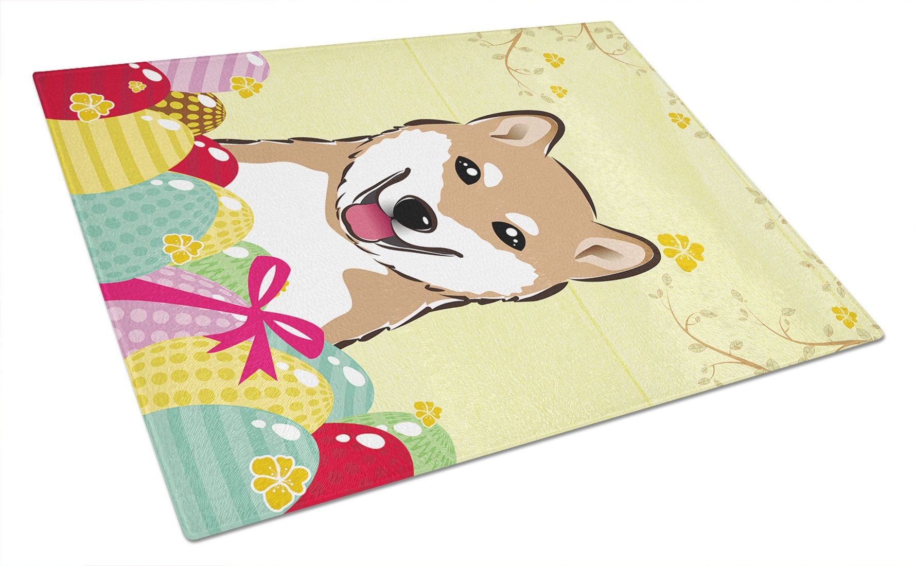 Buy this Shiba Inu Easter Egg Hunt Glass Cutting Board Large BB1907LCB