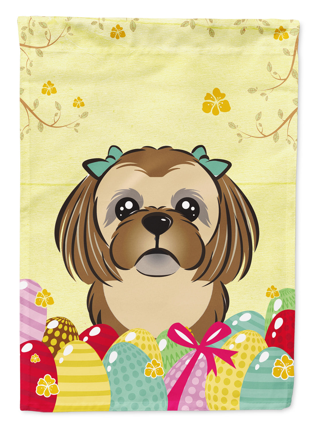 Buy this Chocolate Brown Shih Tzu Easter Egg Hunt Flag Garden Size BB1931GF