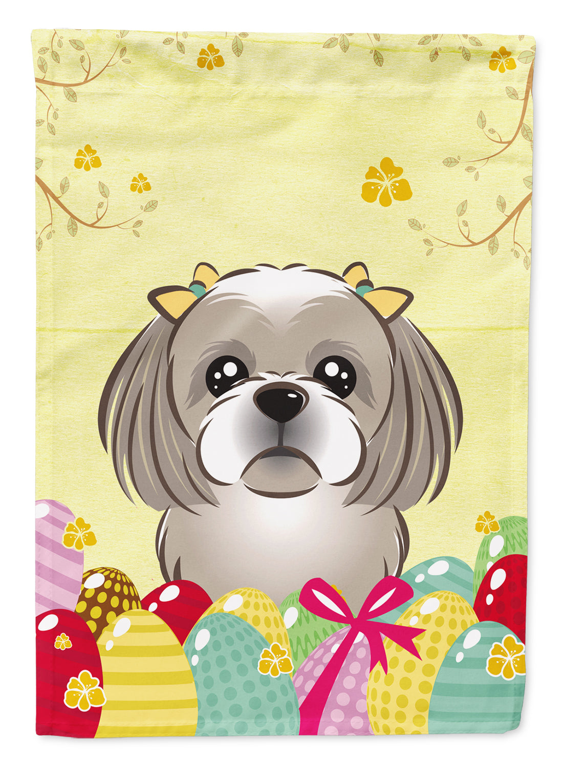 Buy this Gray Silver Shih Tzu Easter Egg Hunt Flag Garden Size BB1932GF