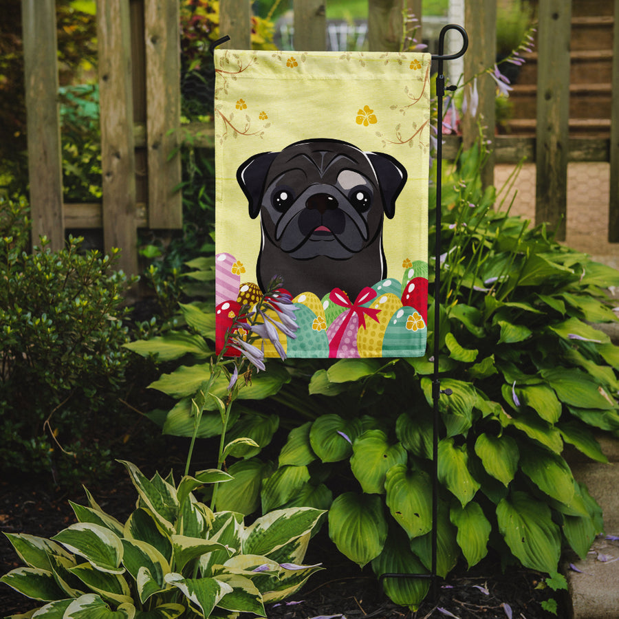 Buy this Black Pug Easter Egg Hunt Flag Garden Size BB1945GF