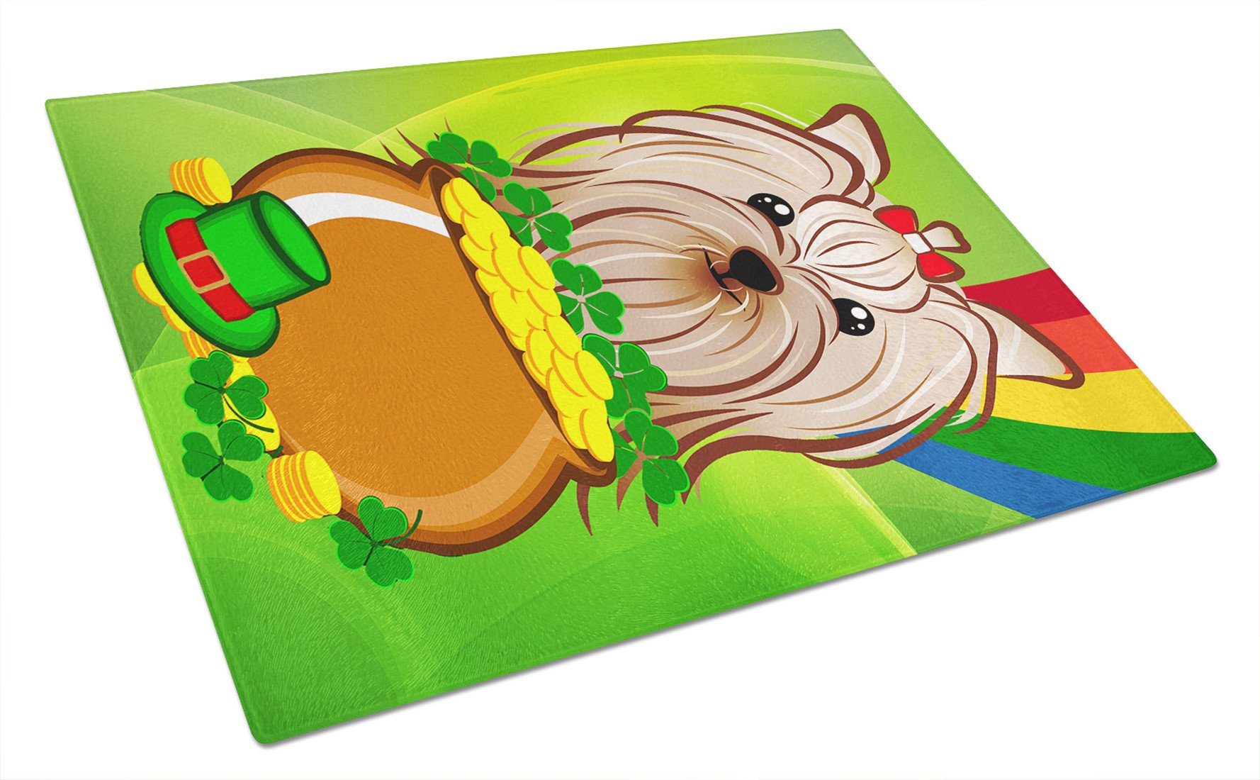 Yorkie Yorkshire Terrier St. Patrick's Day Glass Cutting Board Large BB1948LCB by Caroline's Treasures
