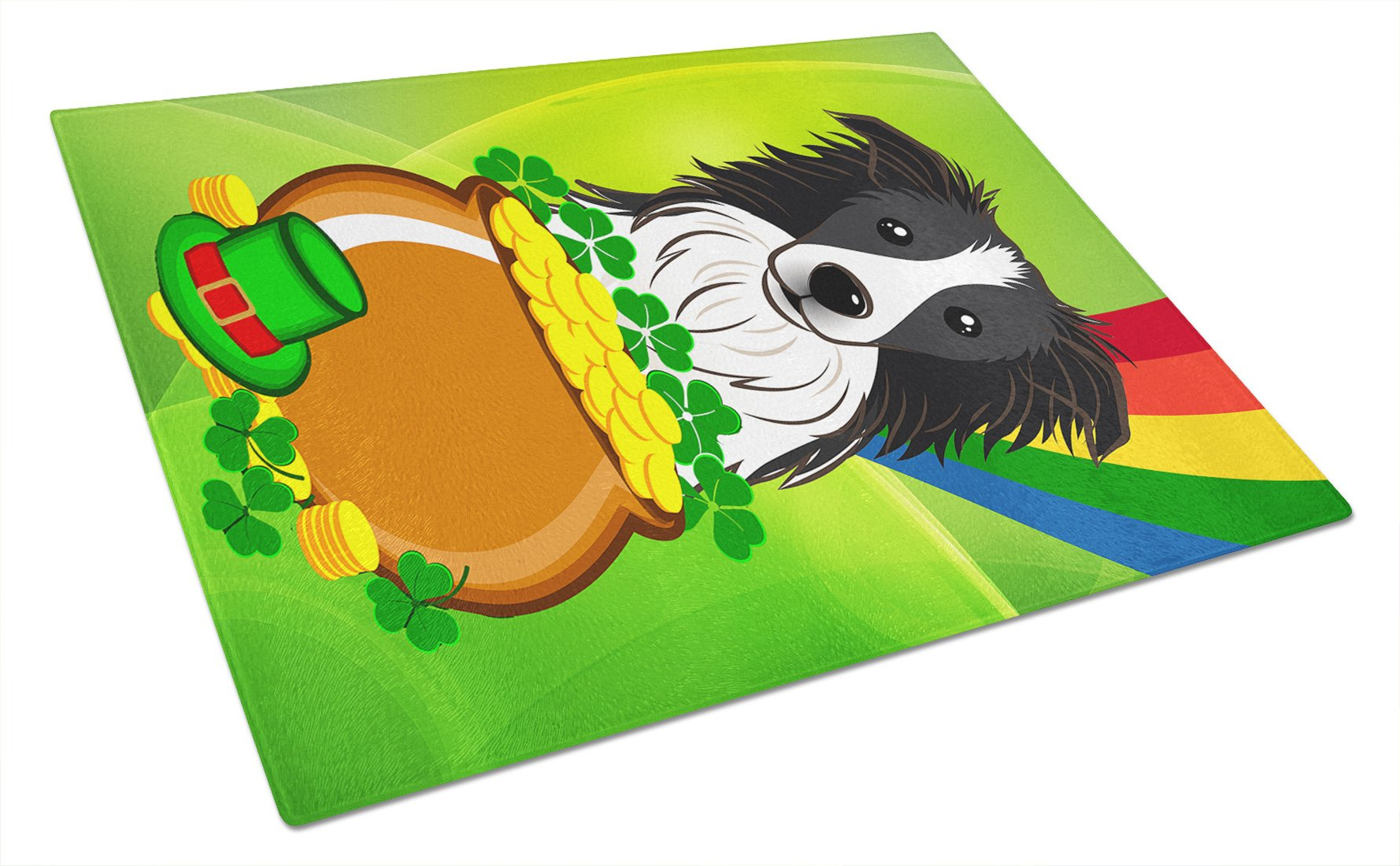 Border Collie St. Patrick's Day Glass Cutting Board Large BB1985LCB by Caroline's Treasures