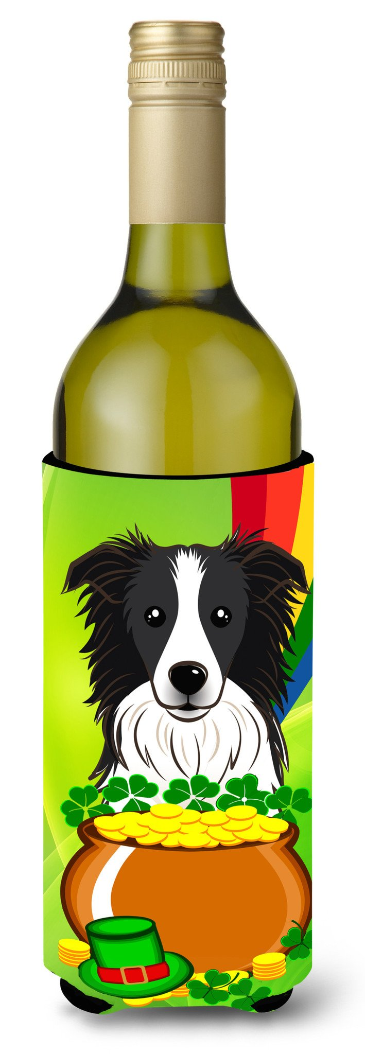 Border Collie St. Patrick's Day Wine Bottle Beverage Insulator Hugger BB1985LITERK by Caroline's Treasures