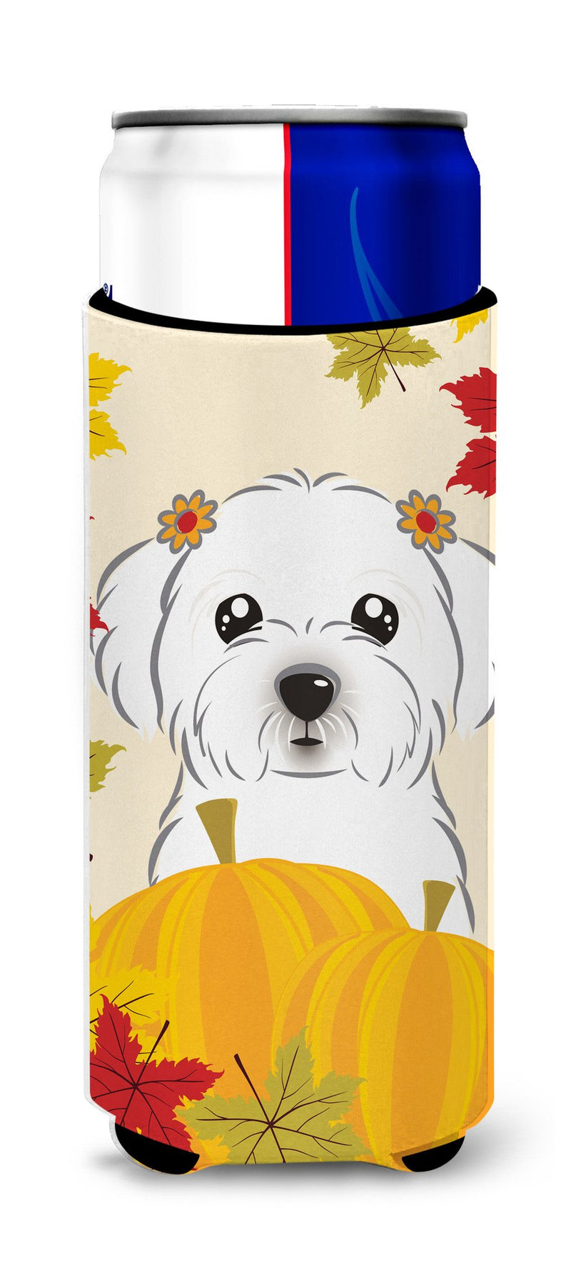 Maltese Thanksgiving Michelob Ultra Beverage Insulator for slim cans BB2014MUK by Caroline's Treasures