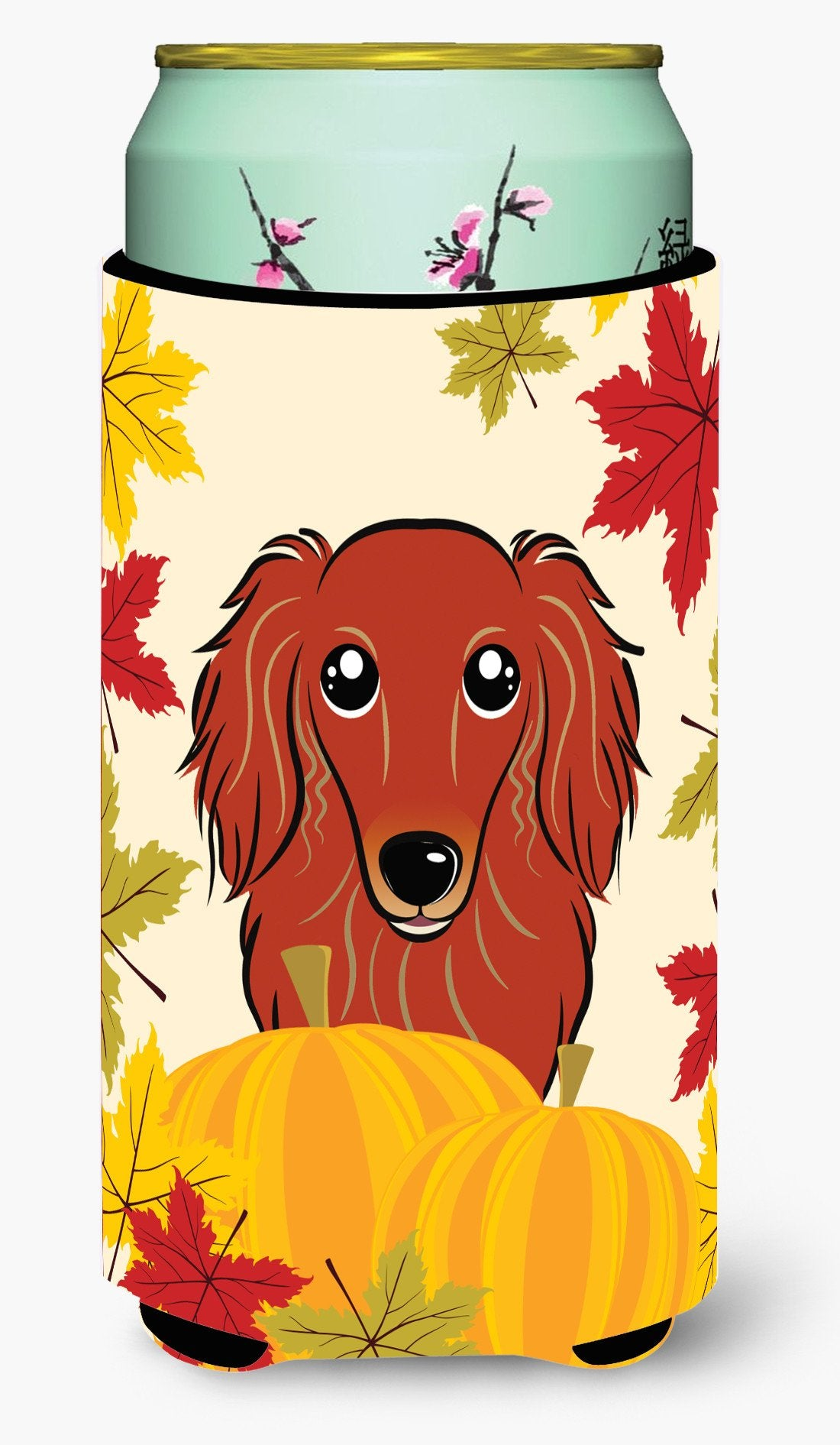 Longhair Red Dachshund Thanksgiving Tall Boy Beverage Insulator  Hugger BB2020TBC by Caroline's Treasures