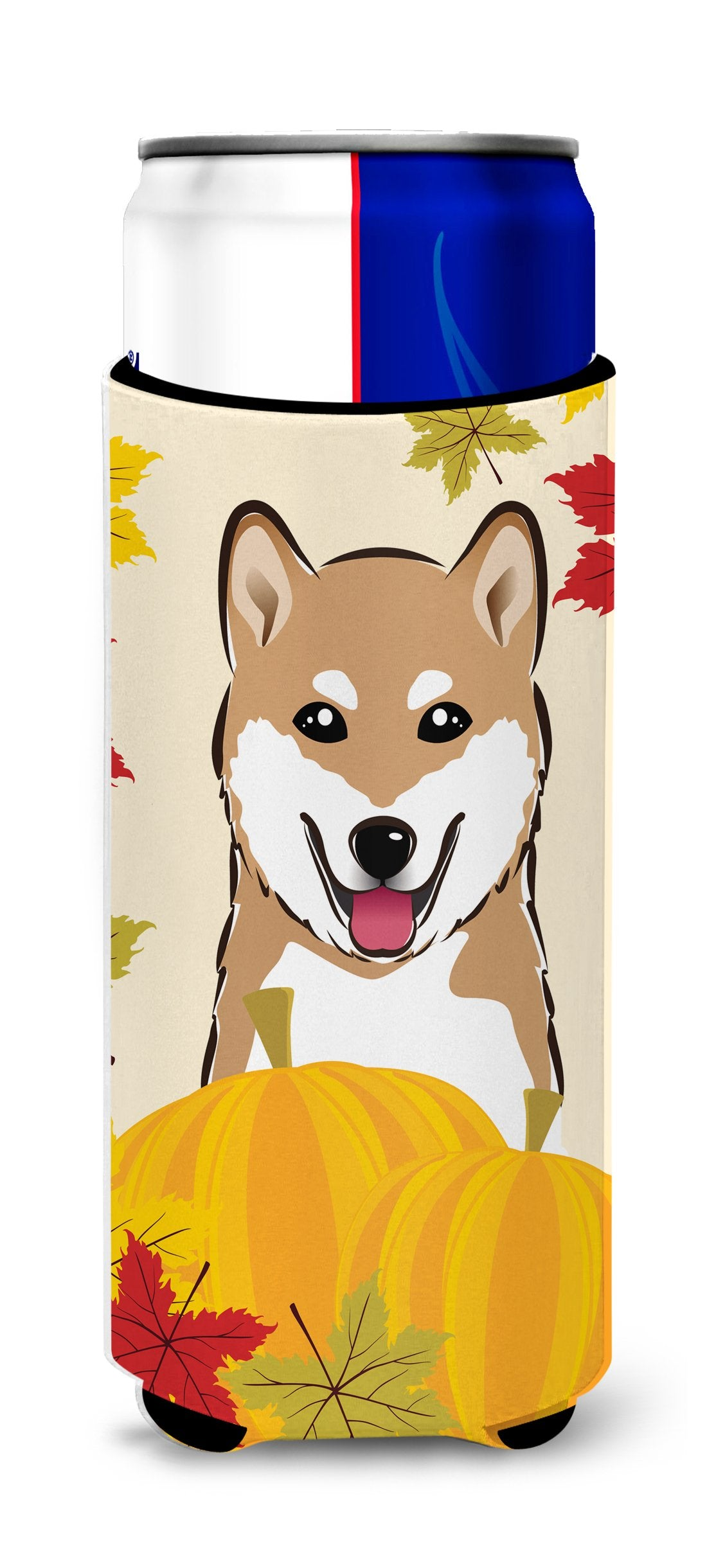 Shiba Inu Thanksgiving Michelob Ultra beverage Insulator for slim cans by Caroline's Treasures