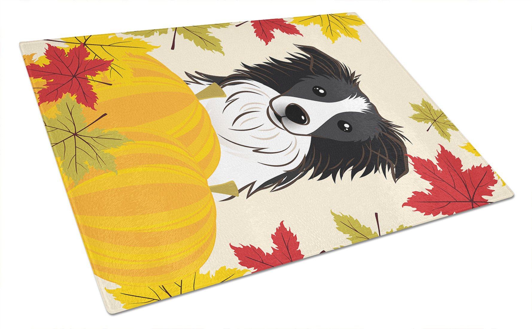 Border Collie Thanksgiving Glass Cutting Board Large BB2047LCB by Caroline's Treasures