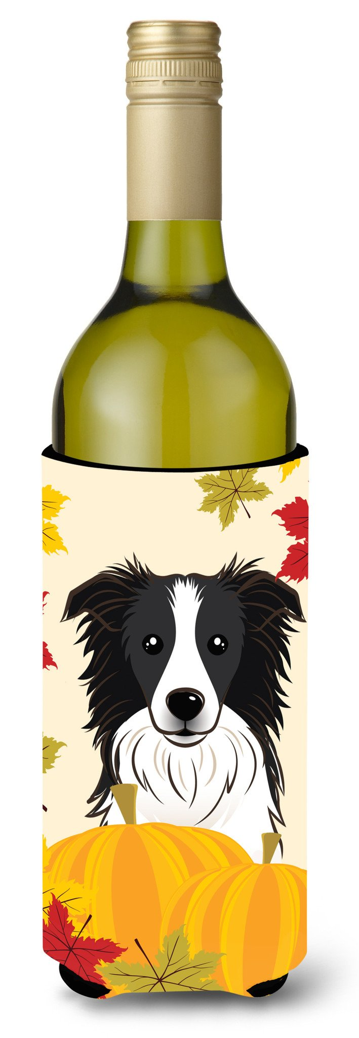 Border Collie Thanksgiving Wine Bottle Beverage Insulator Hugger BB2047LITERK by Caroline's Treasures