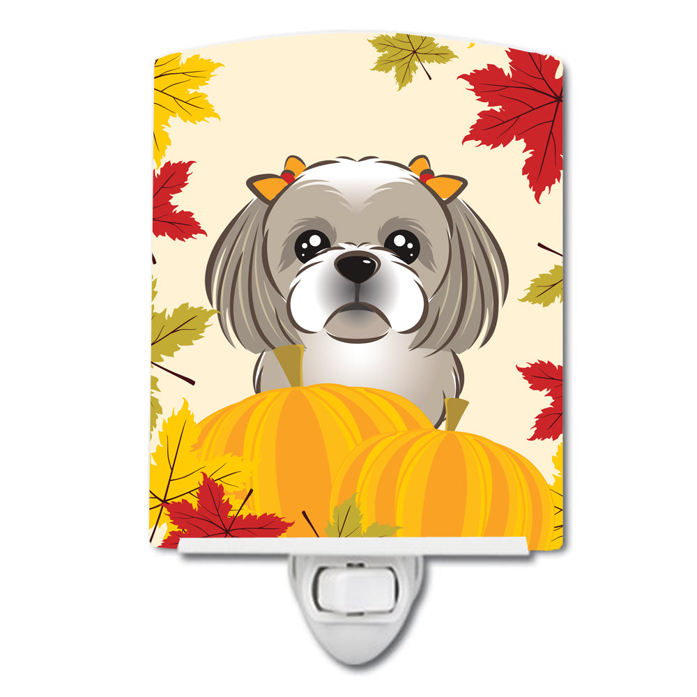 Gray Silver Shih Tzu Thanksgiving Ceramic Night Light BB2056CNL by Caroline's Treasures