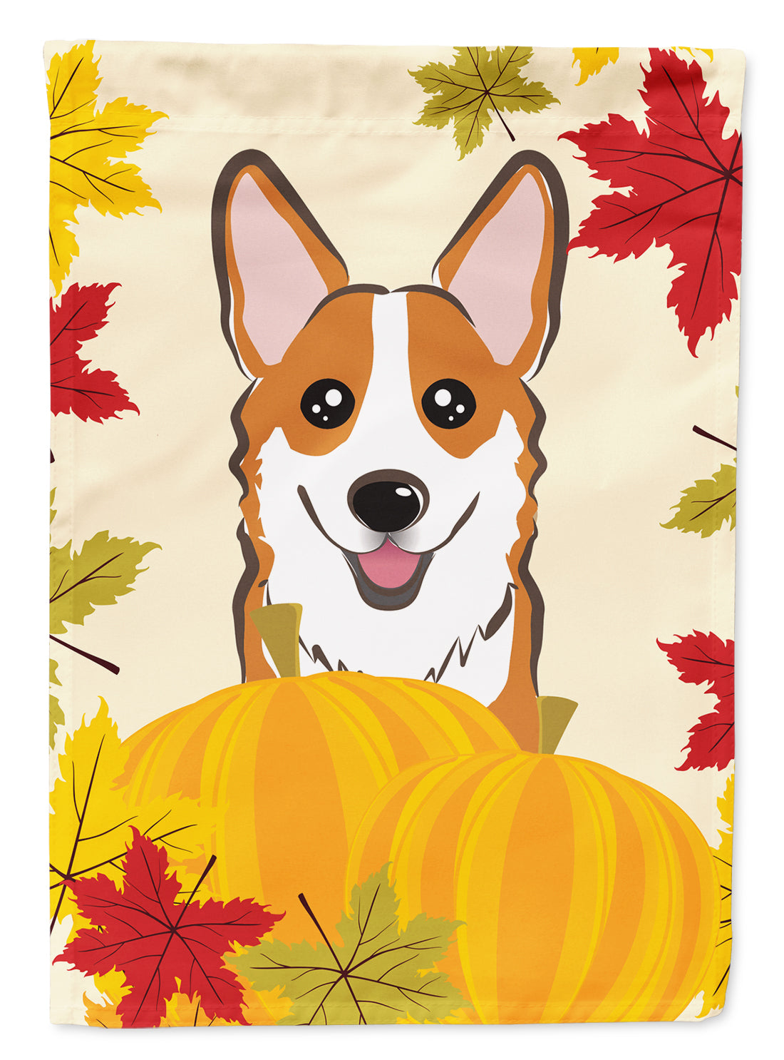 Buy this Red Corgi Thanksgiving Flag Canvas House Size BB2060CHF