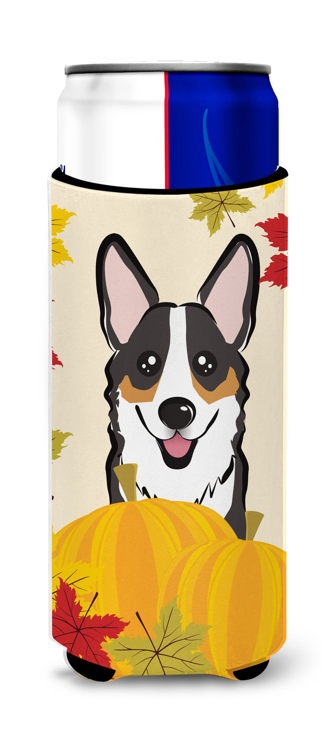 Tricolor Corgi Thanksgiving Michelob Ultra beverage Insulator for slim cans BB2061MUK by Caroline's Treasures
