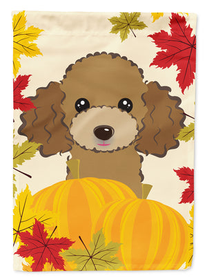 Buy this Chocolate Brown Poodle Thanksgiving Flag Canvas House Size BB2062CHF