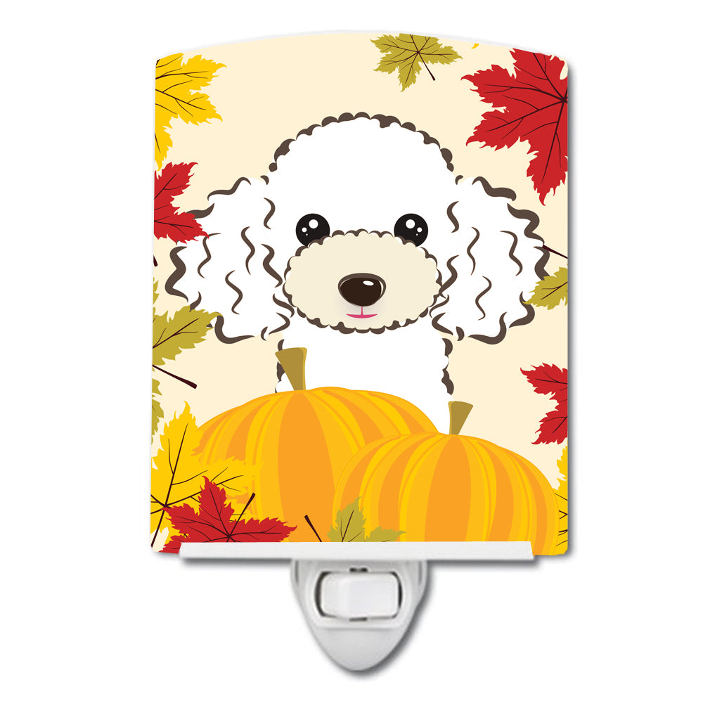 White Poodle Thanksgiving Ceramic Night Light BB2063CNL by Caroline's Treasures