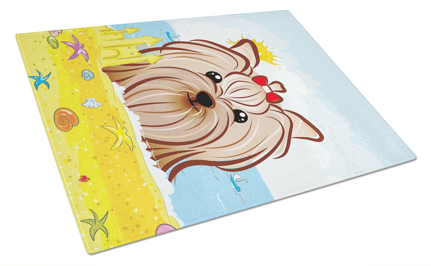 Yorkie Yorkshire Terrier Summer Beach Glass Cutting Board Large BB2072LCB by Caroline's Treasures