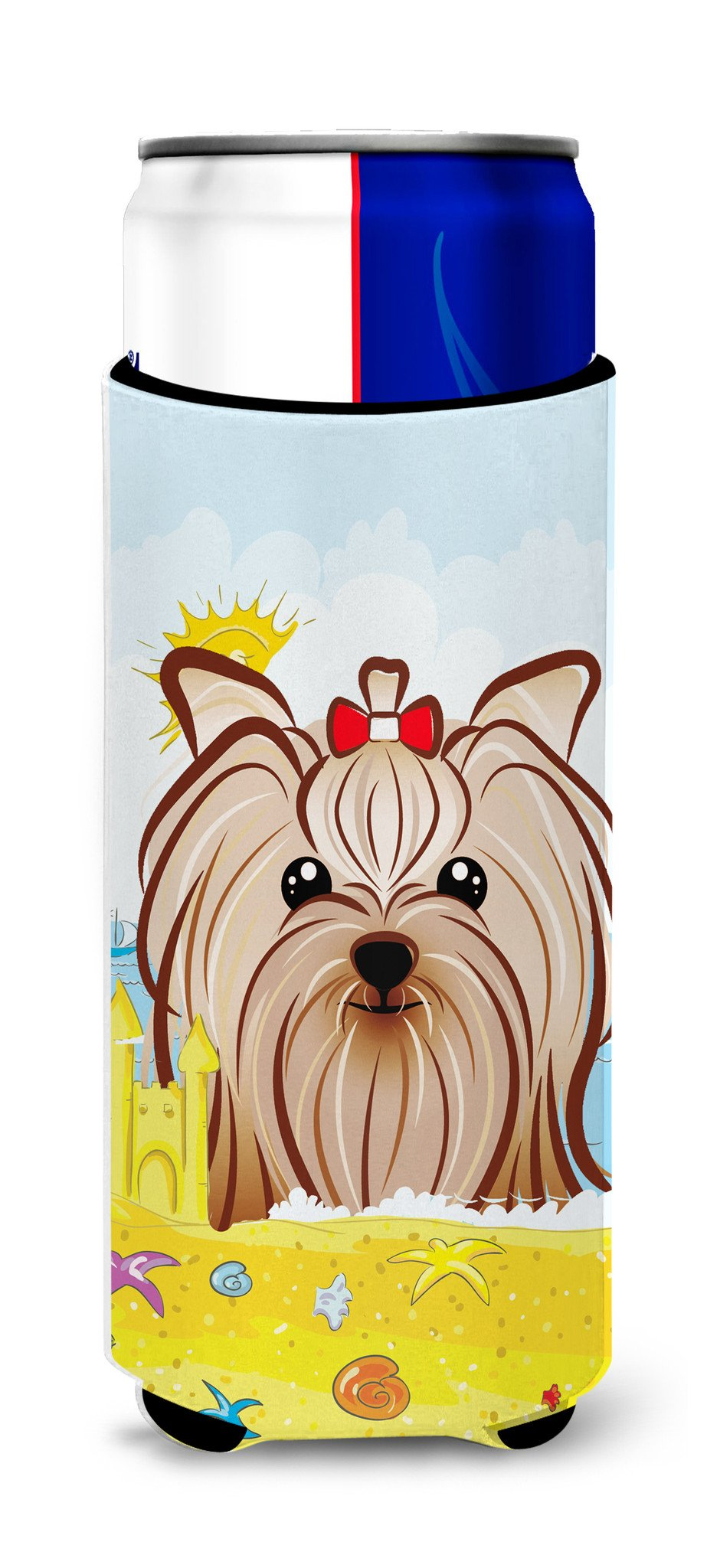 Yorkie Yorkshire Terrier Summer Beach Michelob Ultra Beverage Insulator for slim cans BB2072MUK by Caroline's Treasures