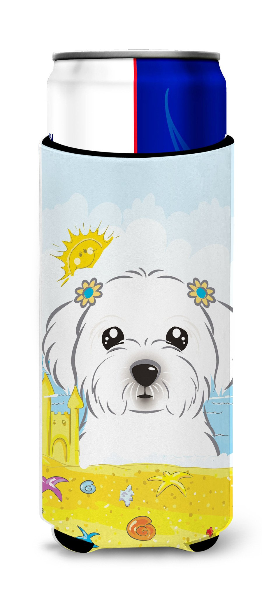 Maltese Summer Beach Michelob Ultra Beverage Insulator for slim cans BB2076MUK by Caroline's Treasures