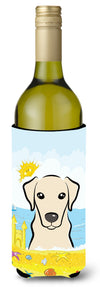 Yellow Labrador Summer Beach Wine Bottle Beverage Insulator Hugger BB2090LITERK by Caroline's Treasures