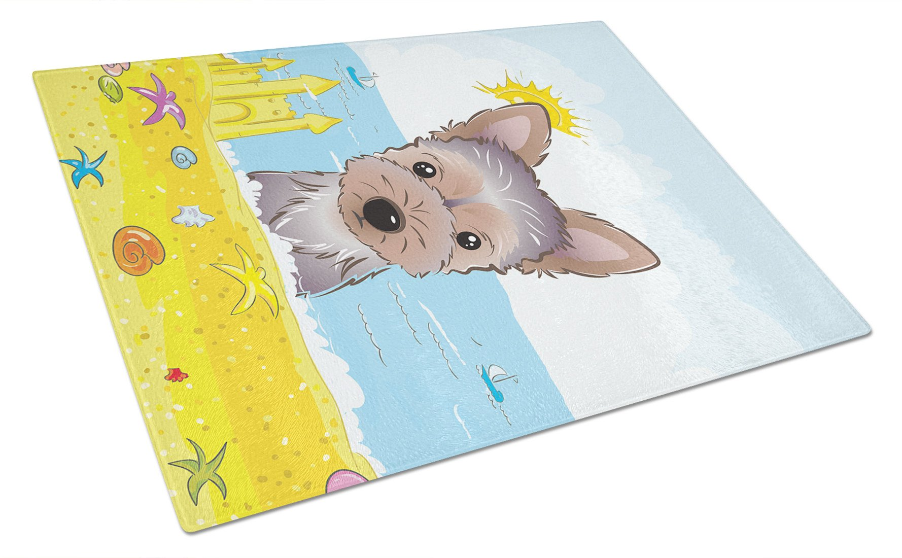 Yorkie Puppy Summer Beach Glass Cutting Board Large BB2100LCB by Caroline's Treasures