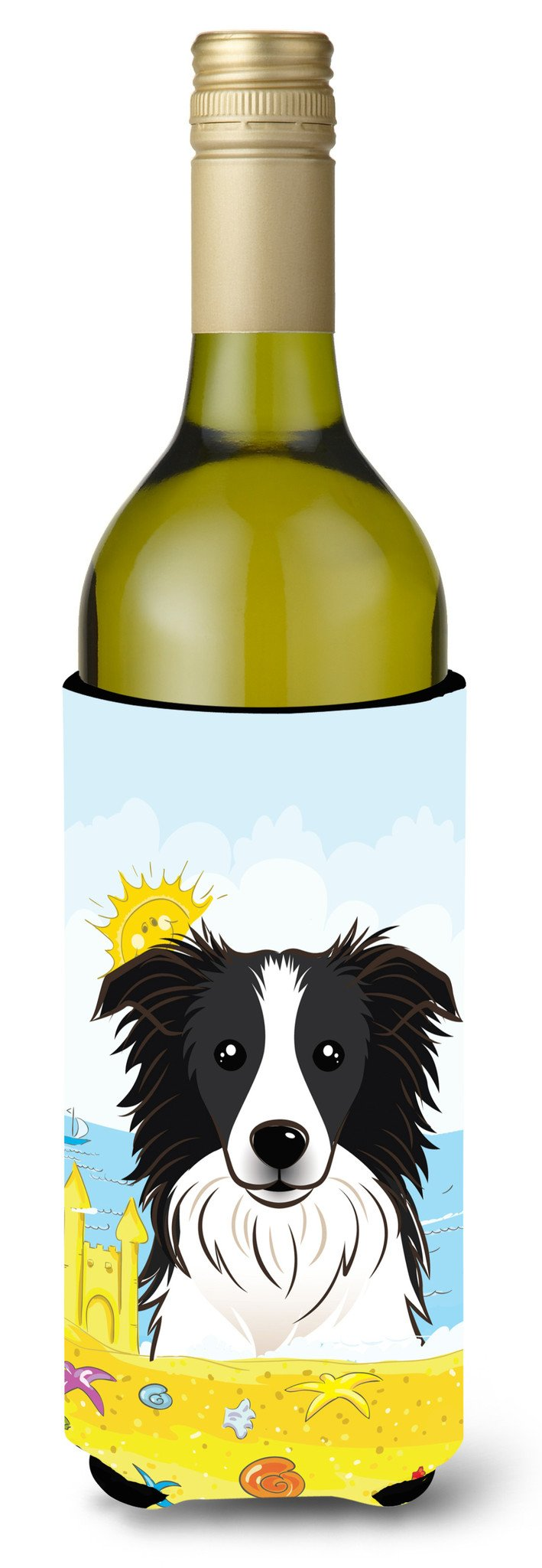 Border Collie Summer Beach Wine Bottle Beverage Insulator Hugger BB2109LITERK by Caroline's Treasures