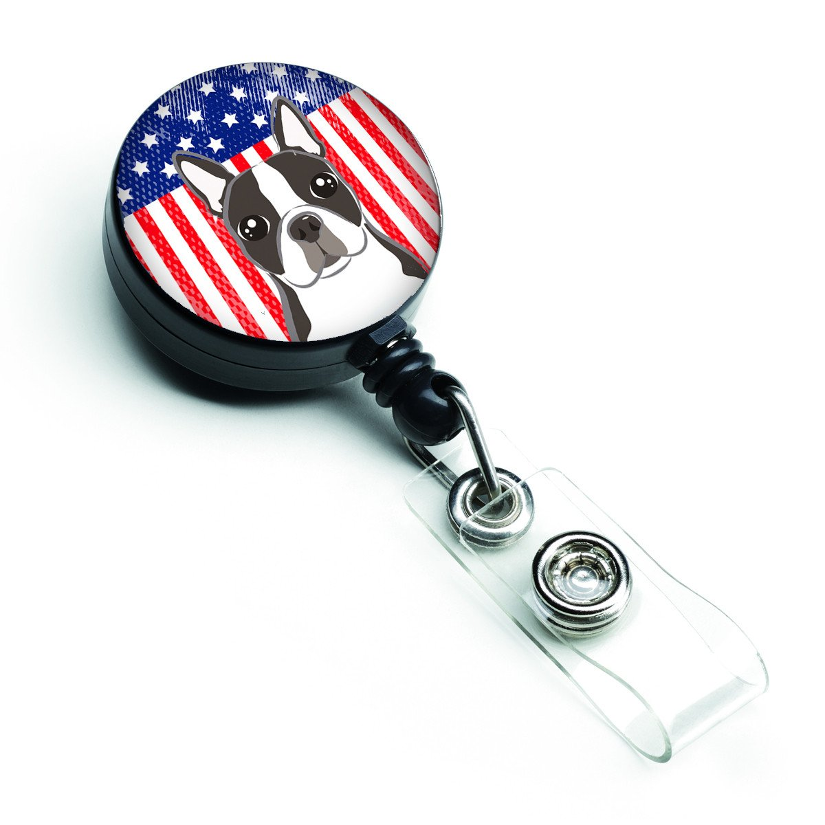 American Flag and Boston Terrier Retractable Badge Reel BB2133BR by Caroline's Treasures