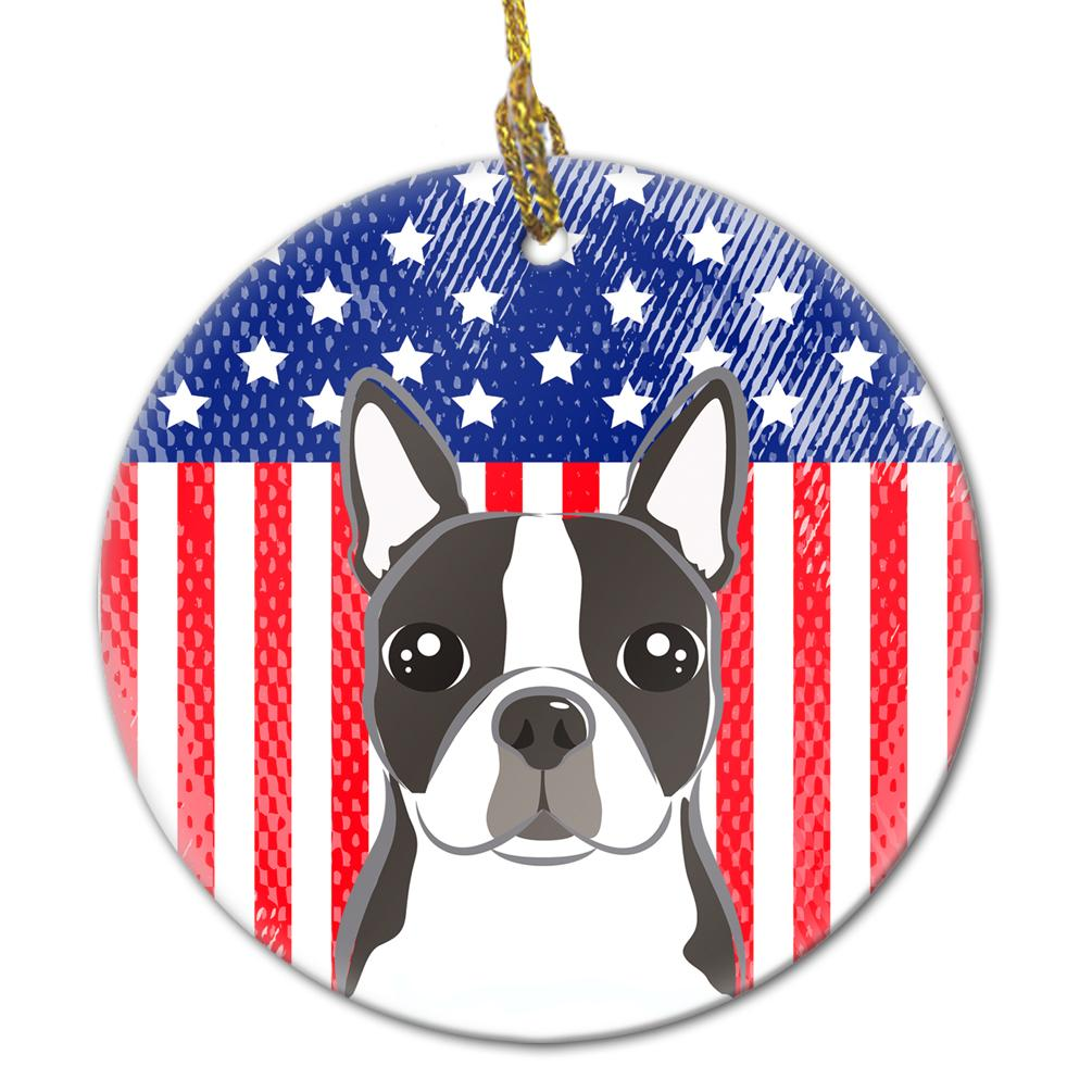 American Flag and Boston Terrier Ceramic Ornament by Caroline's Treasures