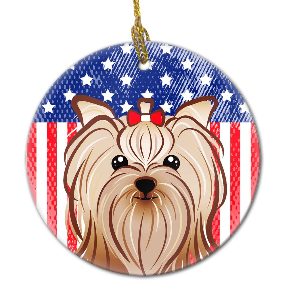 American Flag and Yorkie Yorkishire Terrier Ceramic Ornament BB2134CO1 by Caroline's Treasures