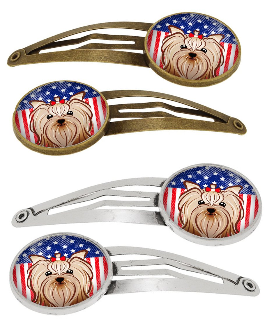 Buy this American Flag and Yorkie Yorkishire Terrier Set of 4 Barrettes Hair Clips BB2134HCS4