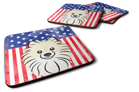 Buy this American Flag and Pomeranian Foam Coaster Set of 4
