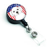 American Flag and Maltese Retractable Badge Reel BB2138BR by Caroline's Treasures