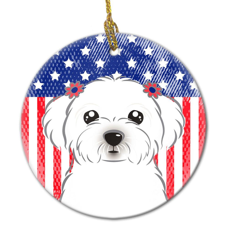 Buy this American Flag and Maltese Ceramic Ornament