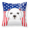 American Flag and Maltese Fabric Decorative Pillow BB2138PW1414 - the-store.com