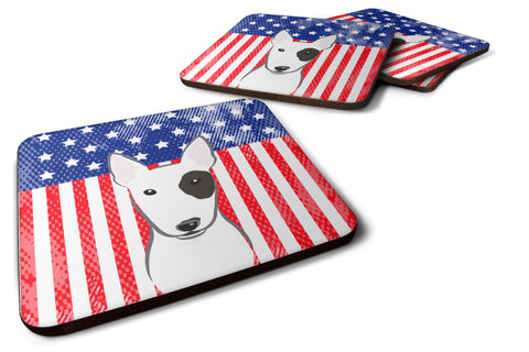 Buy this American Flag and Bull Terrier Foam Coaster Set of 4