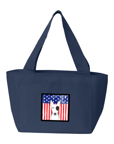Buy this American Flag and Bull Terrier Lunch Bag BB2139NA-8808