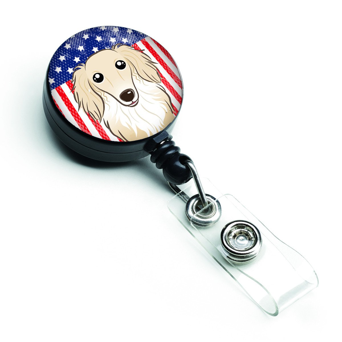 American Flag and Longhair Creme Dachshund Retractable Badge Reel BB2142BR by Caroline's Treasures