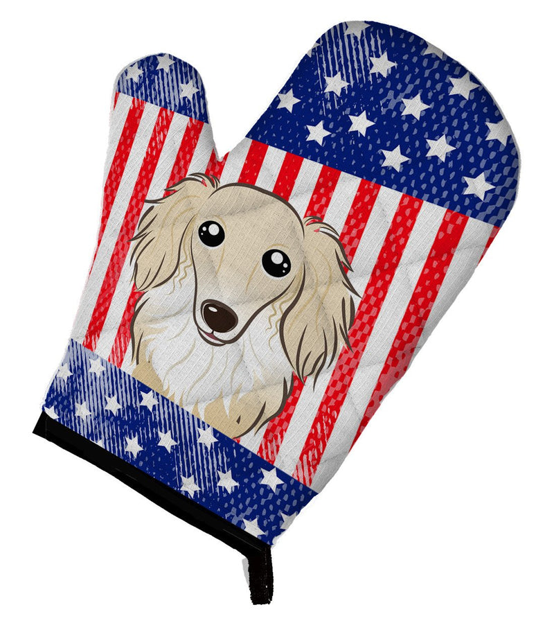 American Flag and Longhair Creme Dachshund Oven Mitt BB2142OVMT - the-store.com