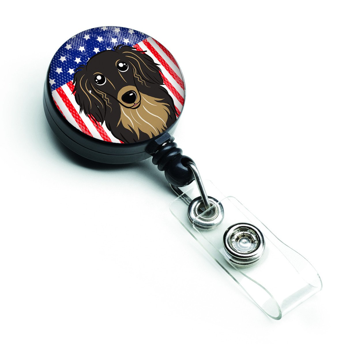 American Flag and Longhair Black and Tan Dachshund Retractable Badge Reel BB2143BR by Caroline's Treasures
