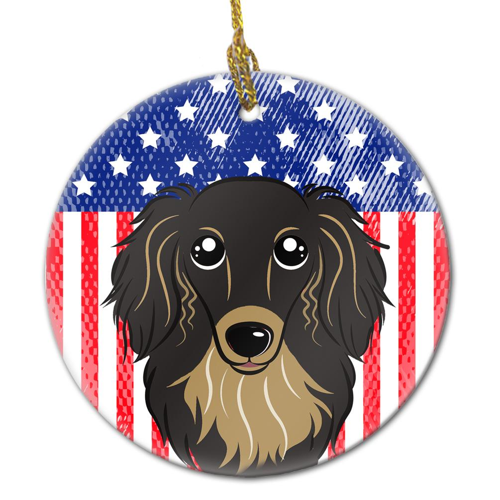American Flag and Longhair Black and Tan Dachshund Ceramic Ornament BB2143CO1 by Caroline's Treasures