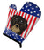 American Flag and Longhair Black and Tan Dachshund Oven Mitt BB2143OVMT - the-store.com