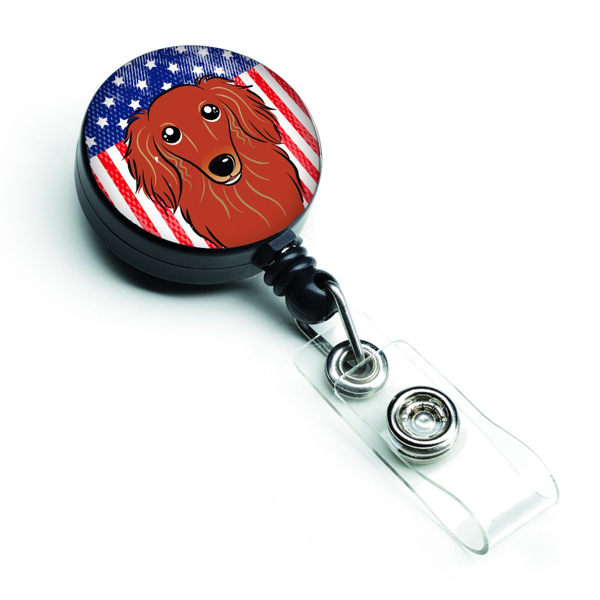 American Flag and Longhair Red Dachshund Retractable Badge Reel BB2144BR by Caroline's Treasures