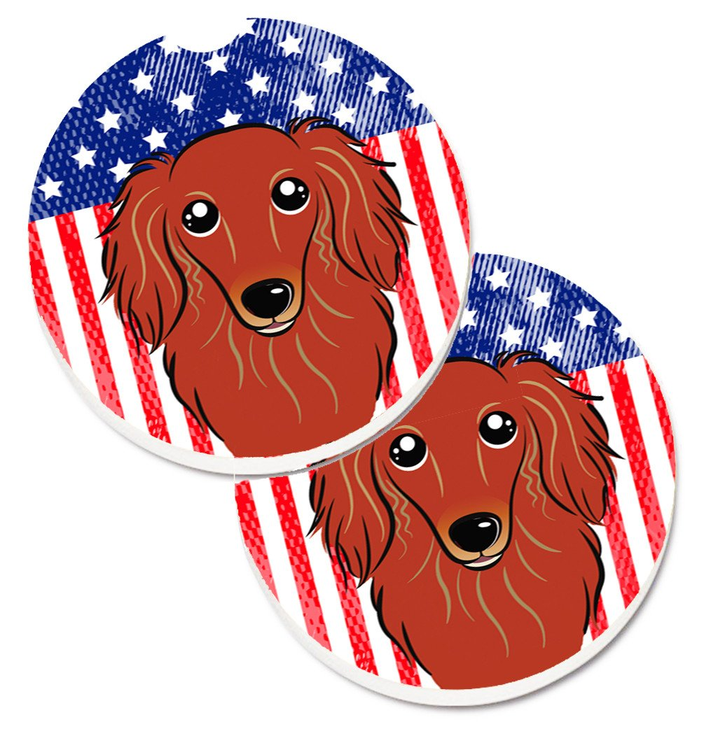 American Flag and Longhair Red Dachshund Set of 2 Cup Holder Car Coasters BB2144CARC by Caroline's Treasures