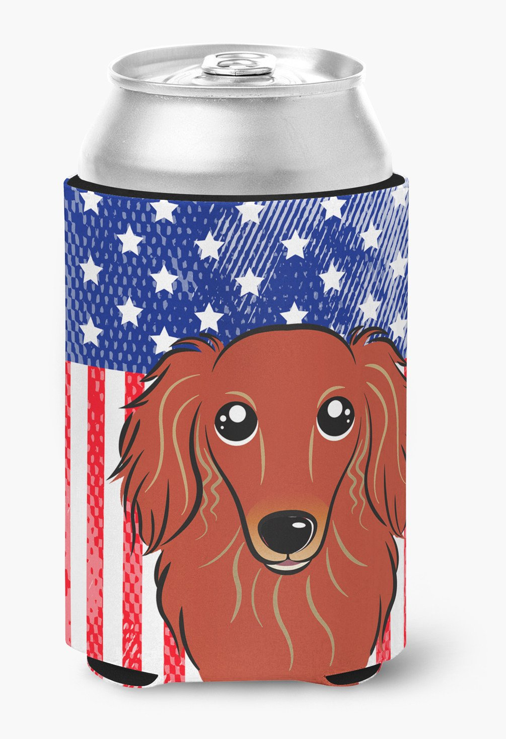 American Flag and Longhair Red Dachshund Can or Bottle Hugger BB2144CC by Caroline's Treasures