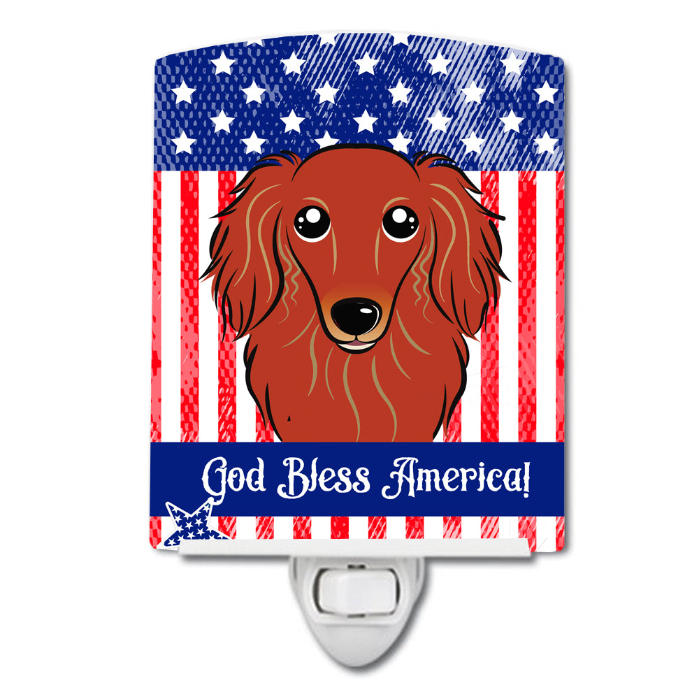 American Flag and Longhair Red Dachshund Ceramic Night Light BB2144CNL by Caroline's Treasures