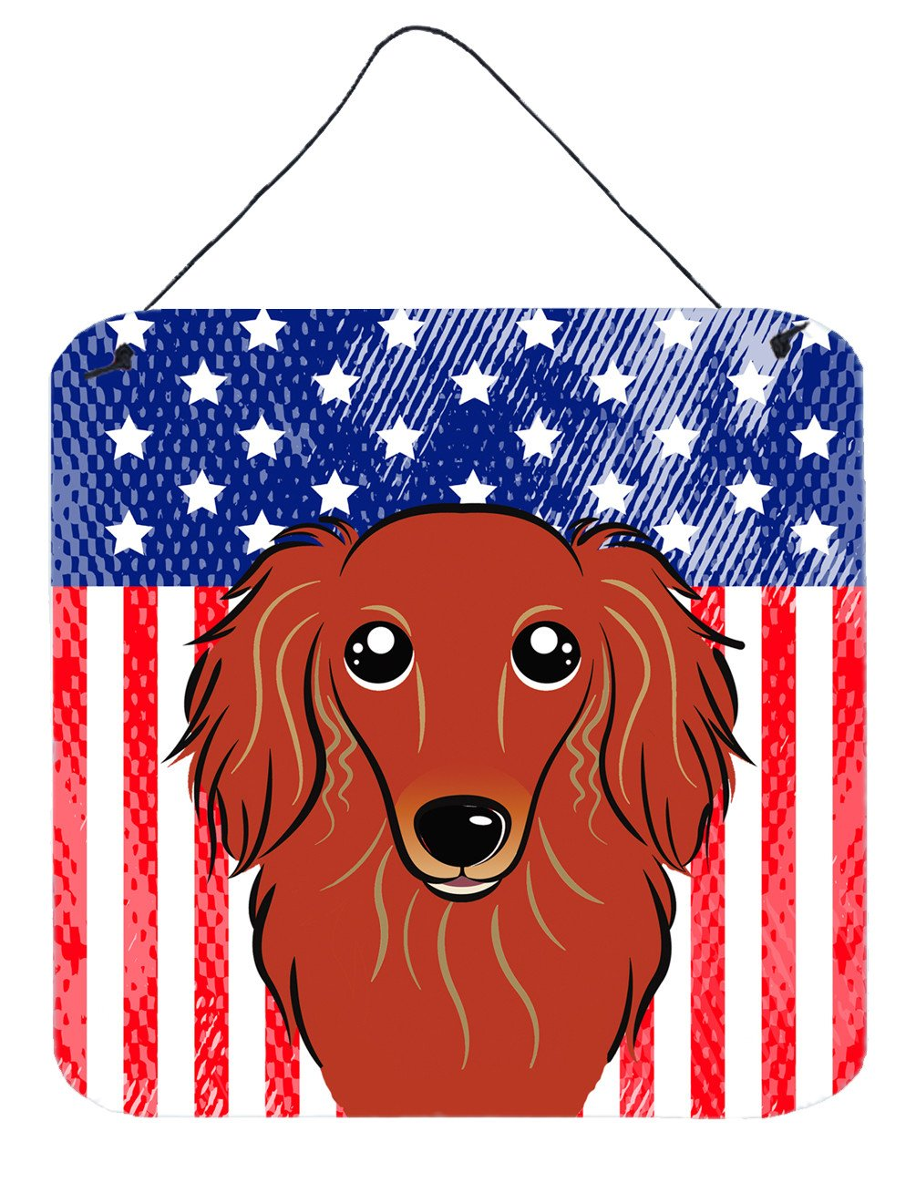 American Flag and Longhair Red Dachshund Wall or Door Hanging Prints BB2144DS66 by Caroline's Treasures