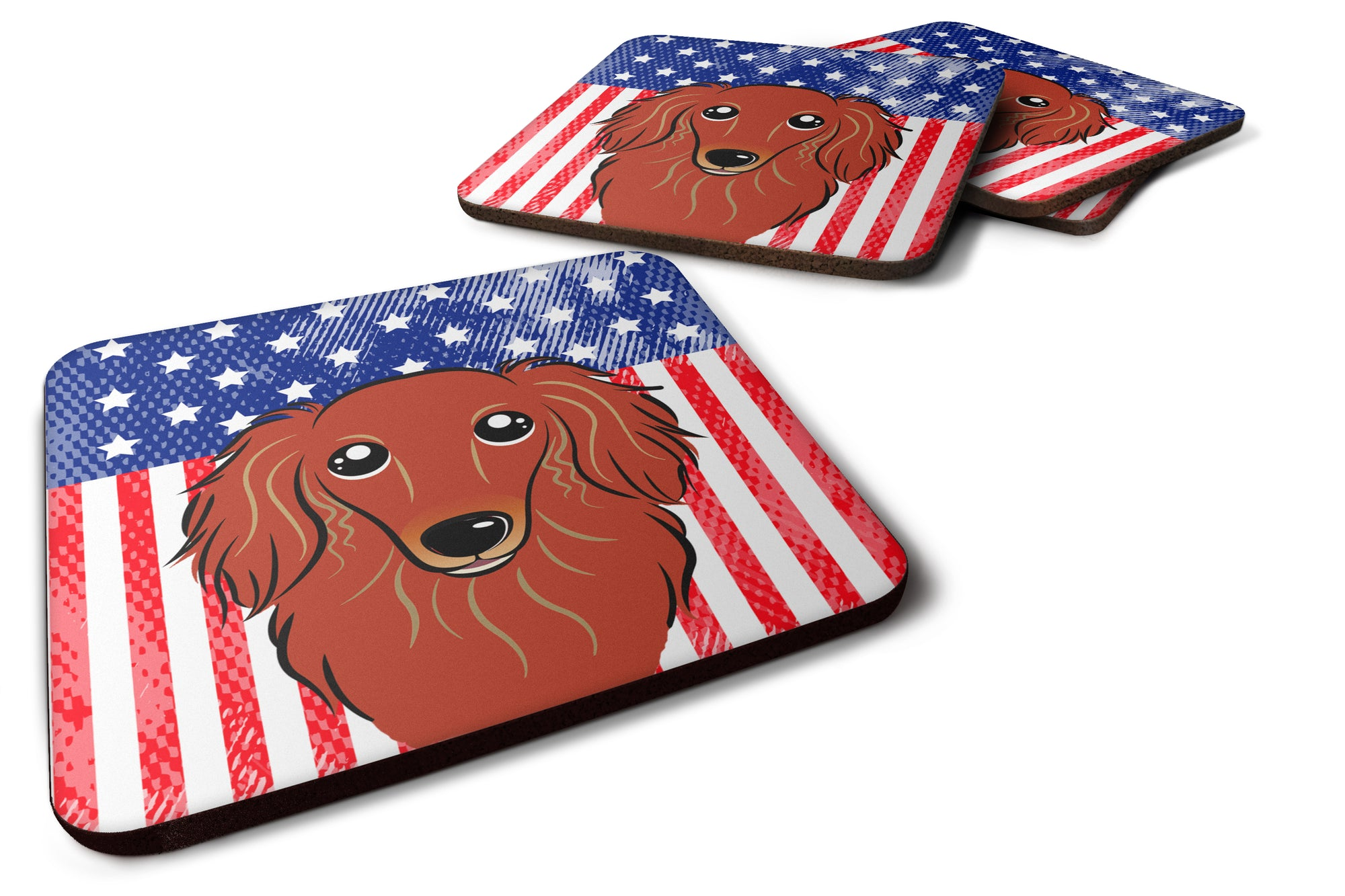 American Flag and Longhair Red Dachshund Foam Coaster BB2144FC by Caroline's Treasures