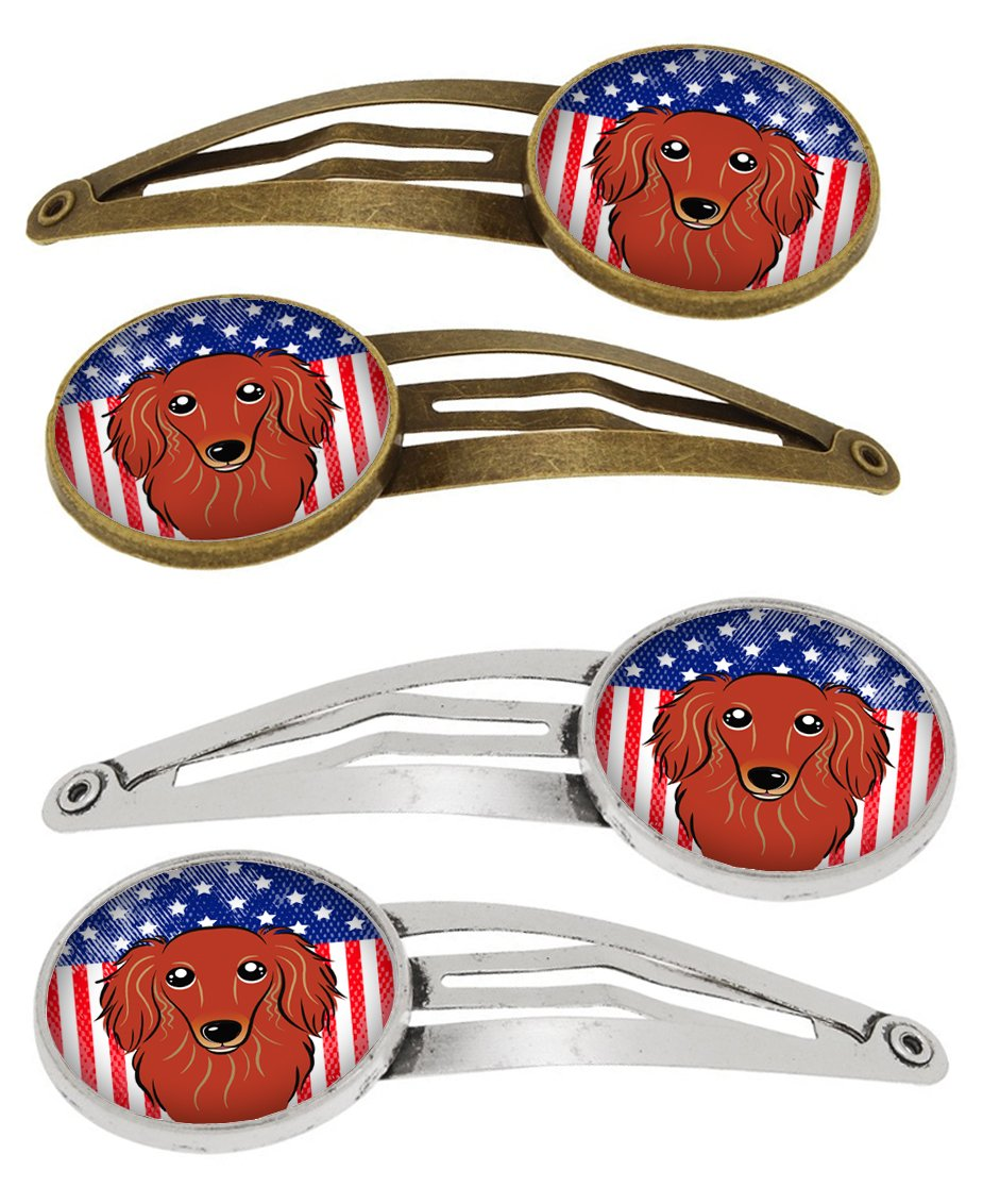 American Flag and Longhair Red Dachshund Set of 4 Barrettes Hair Clips BB2144HCS4 by Caroline's Treasures