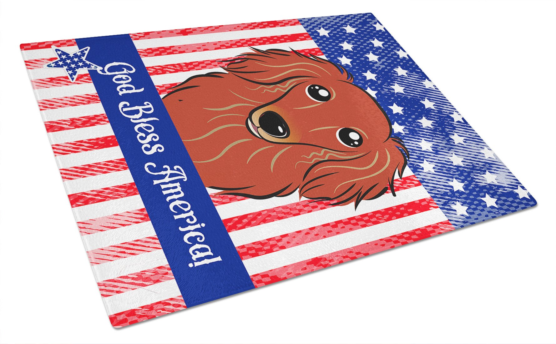 Longhair Red Dachshund Glass Cutting Board Large BB2144LCB by Caroline's Treasures