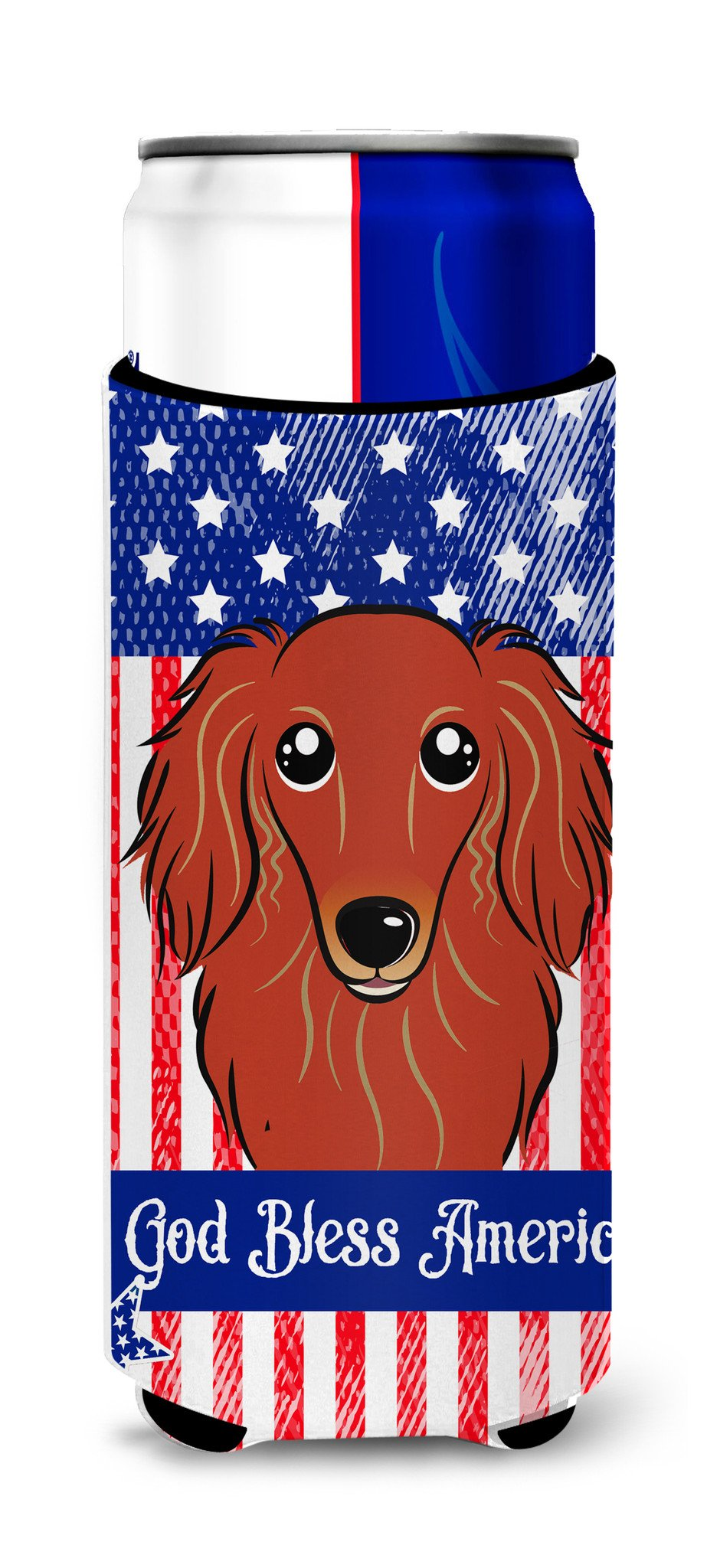 Longhair Red Dachshund Michelob Ultra Beverage Insulator for slim cans BB2144MUK by Caroline's Treasures
