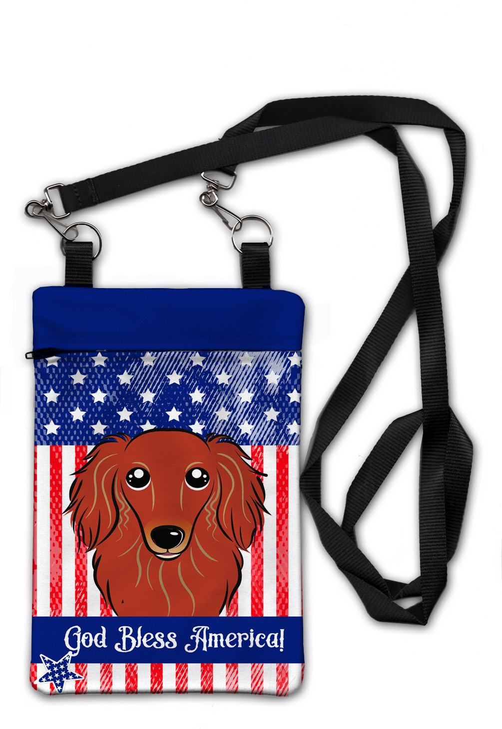 American Flag and Longhair Red Dachshund Crossbody Bag Purse BB2144OBDY by Caroline's Treasures